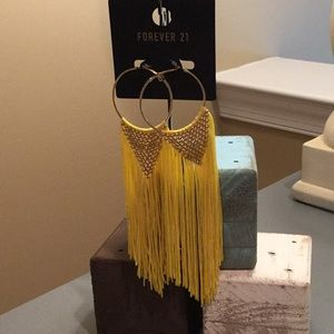 Forever 21 Yellow Fringe Earrings